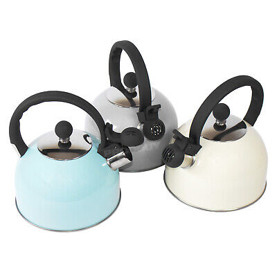 1.4L Vintage Stainless Steel Whistling Kettle Gas Stove Hob Top Camping Caravan