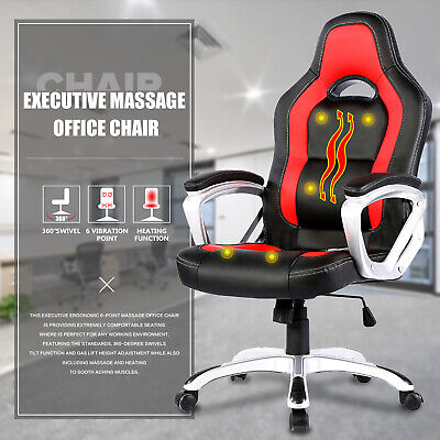 6 Point Racing Game Massage Chair Leather Ergonomic Computer Office Chair Red