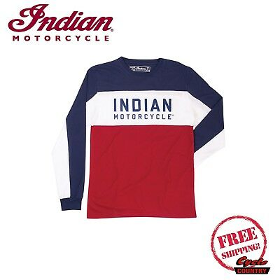 GENUINE INDIAN MOTORCYCLE BRAND COLOR BLOCK LONG SLEEVE T-SHIRT TEE RED WHITE -