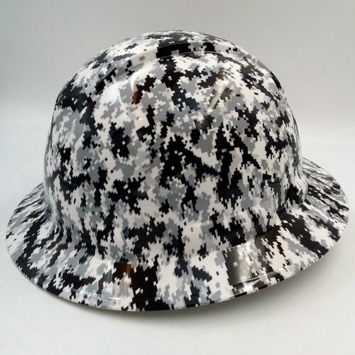 Hard Hat FULL BRIM custom hydro dipped , OSHA approved WHITE DIGITAL CAMO NEWEST 2