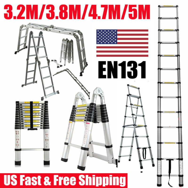 16.5FT 12.5FT Aluminum Multi-Purpose Extention Ladder Folding Telescopic A Frame