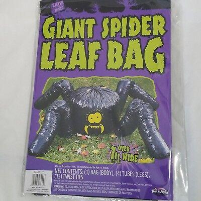 Spider Leaf Bag (Fun World Giant Spider Leaf Bag Halloween Decoration Over 7 Feet Wide Brand New)