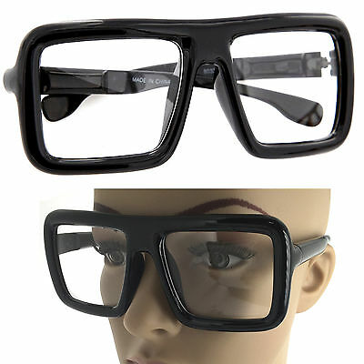 Large Thick Retro Nerd Bold Big Oversized Square Frame Clear Lens Glasses (Thick Square Glasses)