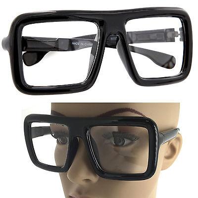 Large Thick Retro Nerd Bold Big Oversized Square Frame Clear Lens Glasses - Big Black Frame Nerd Glasses
