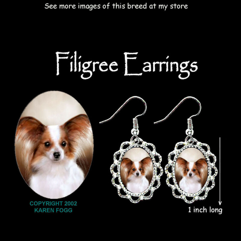 PAPILLION DOG Red White - SILVER FILIGREE EARRINGS Jewelry