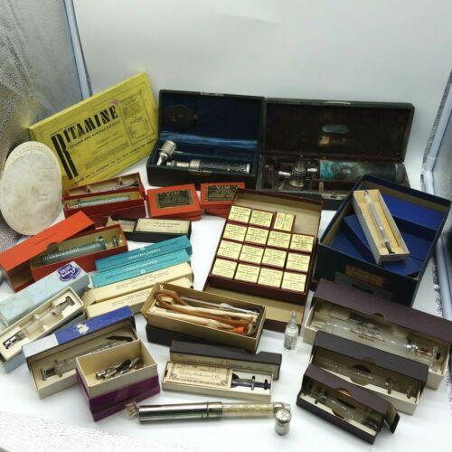 HUGE Lot  Vintage Antique Hypodermic Glass Syringe Blood Pipette Needles & More