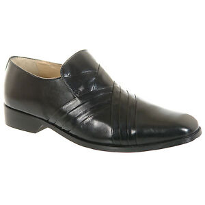 Mens-Gents-Black-Leather-Slip-On-Desiner-Formal-Shoes-Size-6-7-8-9-10-11-12