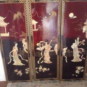 Asian lacquered wall plaques