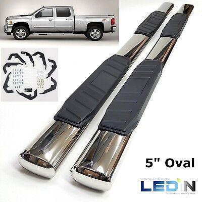 5  Side Step Nerf Bar For 07 18 Silverado 1500 2500 3500 Crew Cab Oval Chrome