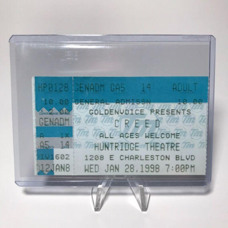 Creed Huntridge Theatre Concert Ticket Stub Las Vegas Vintage January 28 1998