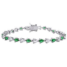 Amour Green Cubic Zirconia and Created White Sapphire Sterling Silver Bracelet