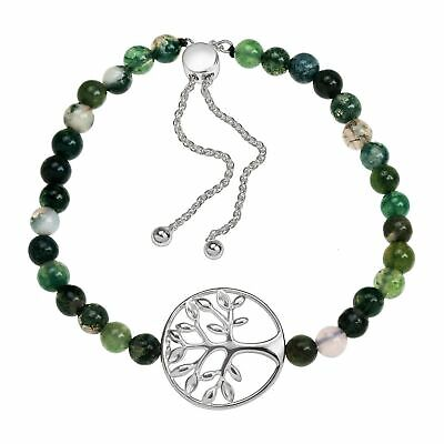 Family Tree Natural Green Agate Bead Bolo Bracelet in Sterling Silver Agate Sterling Silver Bracelet