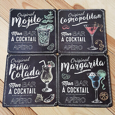 Set of 4 Square Cork Backed Cocktail Coasters New Novelty Table Hot Drinks Mats Cork Coaster Set