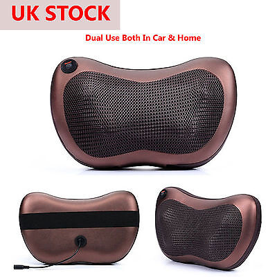 UK Electric Lumbar Neck Back Massage Pillow Cushion Massager with Heat Car Home