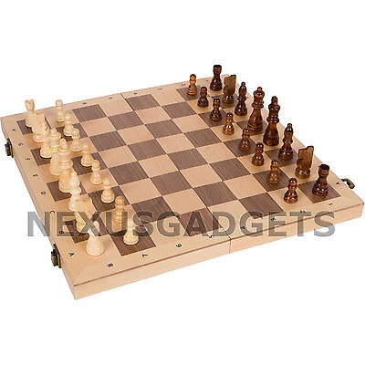 16 Wood Chess - Chess Board Game Set FOLDING 16 INCH RANK AND FILE ABC Inlaid Wood Wooden Pieces