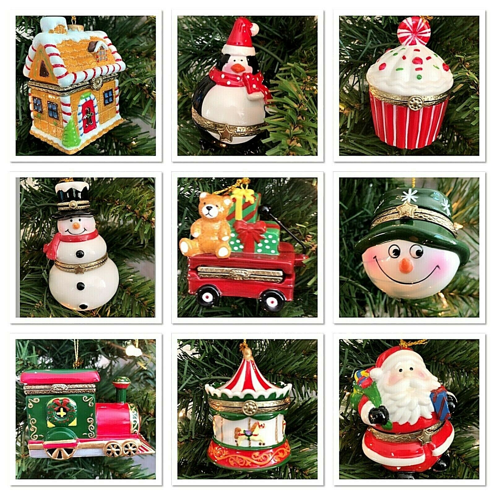 Hinged Trinket Box Ornament Porcelain Christmas Gift Hand Painted Many Designs Holiday & Seasonal Décor