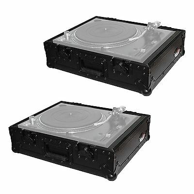 ProX T-TT Black DJ Turntable ATA Flight Road Ready Case Pair