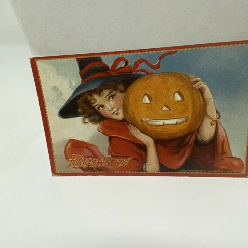 Vintage Postcard Halloween Pretty Lady With Huge Jack O' Lantern Reproduction