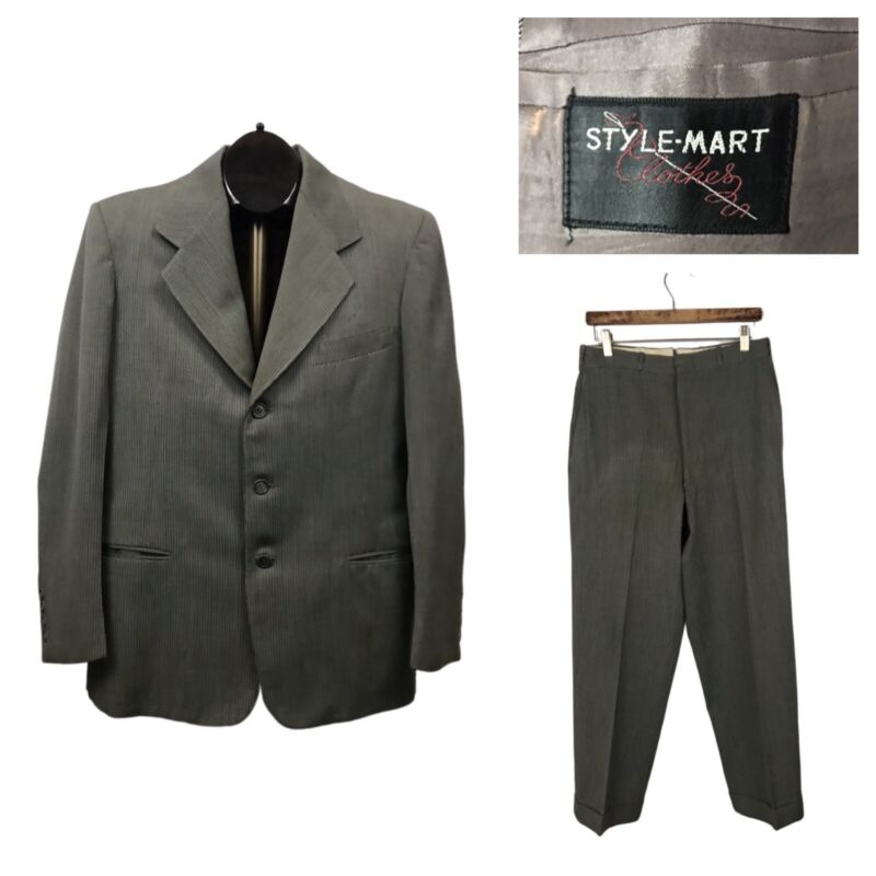 1940s Pinstripe Suit / 40s Gray 3 Button Gabardine Suit High Waist / Men's XS
