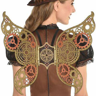Steampunk Gold Bronze Wings Halloween Costume Accessories for Women One Size