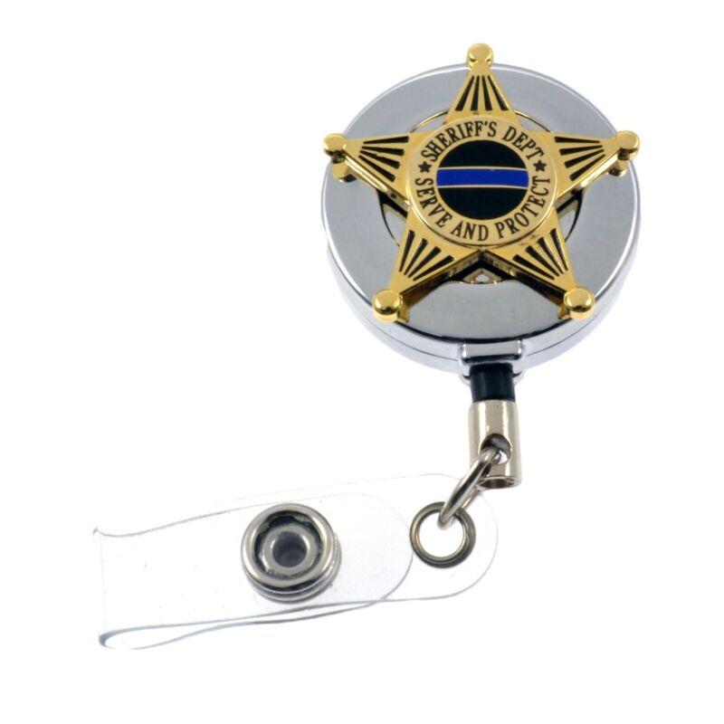 Deputy Sheriff 5 Point Star Badge Reel Retractable ID Card Holder Chrome