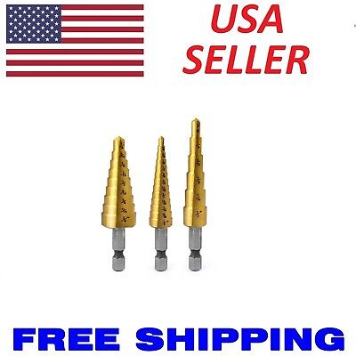 3pc Step Drill Bit Set Unibit Titanium HSS M2 28 Sizes Industrial Reamer 1/8-3/4