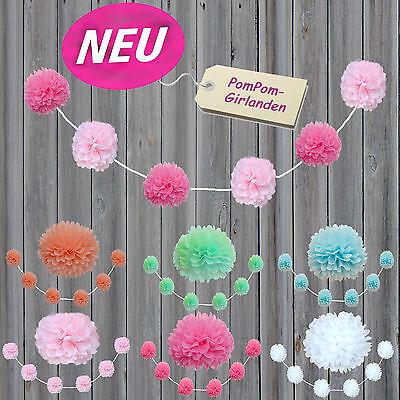 Neu: DIY PomPom-GIRLANDE, je 6x13cmØ Papierblume, Seidenpapier PomPon, Hochzeit, (Diy Hochzeit Dekorationen)