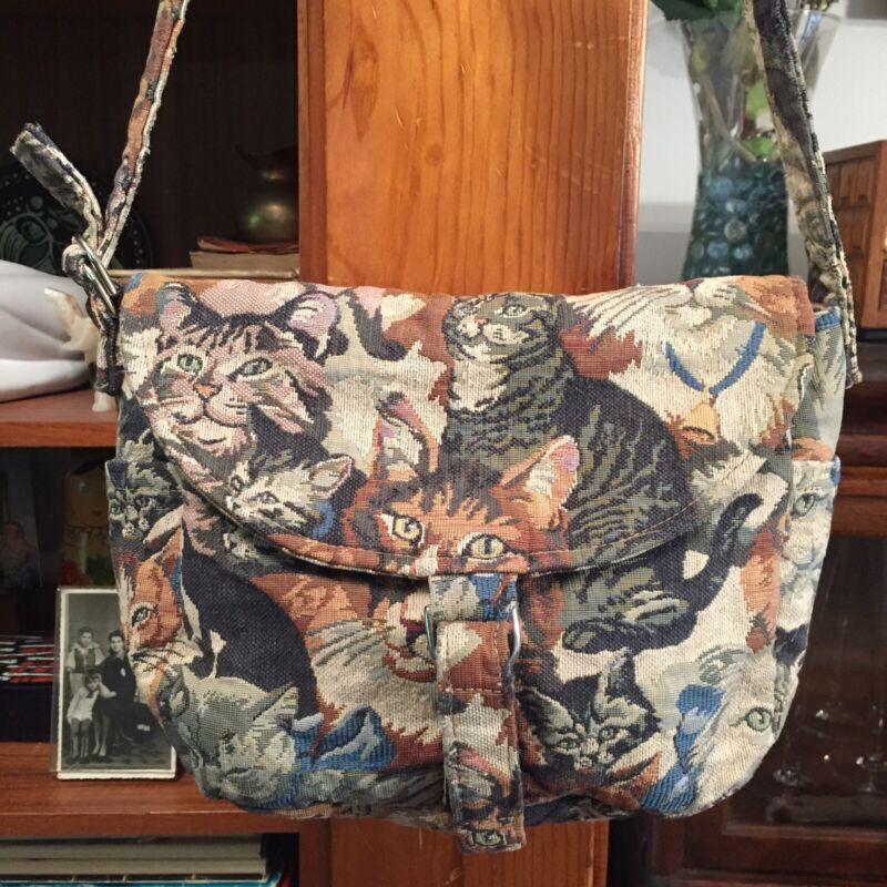 Vtg. It's My Bag Specialties Handmade Cat Print Fabric Bag Purse Adjust Strap