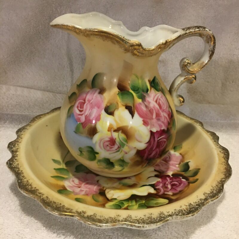 VINTAGE NORLEANS FLORAL PITCHER AND BOWL SET