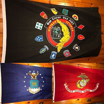 US Military Flag Banner Lot of 3 Air Force Marines Corps Vietnam Veteran - Veteran Flag Banner