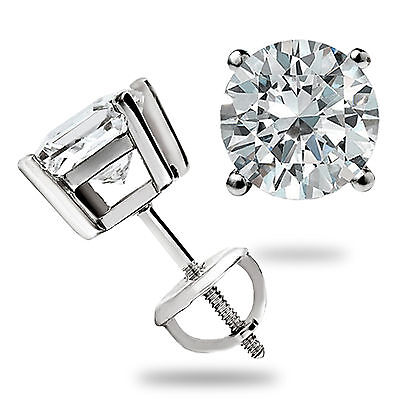 3.0 CT ROUND CUT BASKET SCREW BACK Lab Diamond EARRINGS SOLID 14K WHITE - 14k White Gold Diamond Earrings