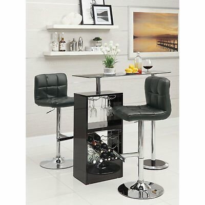 - Black Bar Table Wine Rack Glass Top Pub Table Home Freestanding Unit High Gloss