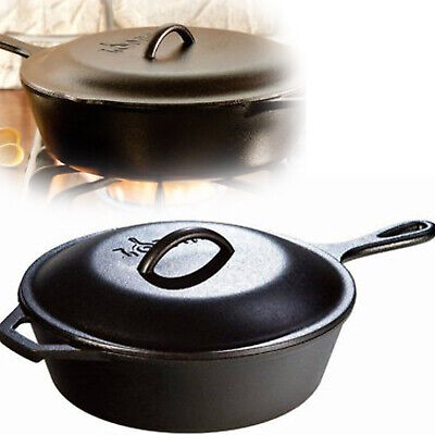 CAST IRON SKILLET Pre-Seasoned Deep Pot Pan Frying Baking Covered Kitchen Cookwa