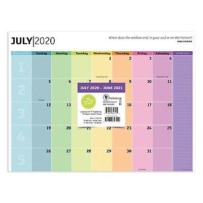 July 2020-june 2021 Shades Of The Rainbow Mini Desk Pad Monthly Calendar Blotter