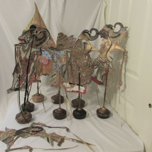 8 Large Leather Wayang Kulit Indonesian Shadow Puppets + Tree of Life & 8 Stands