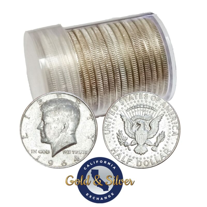 90% Silver 1964 Kennedy Half Dollars - Roll of 20 - $10 Face Value (Circulated)