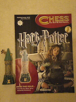 BN HARRY POTTER CHESS MAGAZINE NO.51 WITH THE BLACK ROOK WITH GLOWING WINDOWS