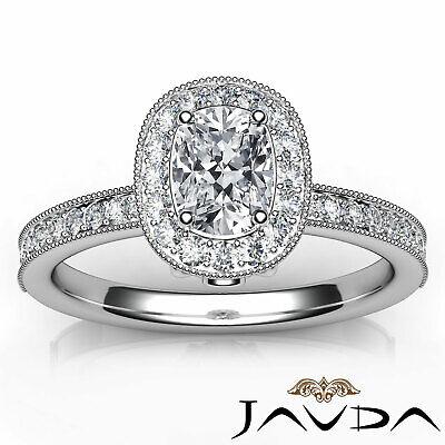 Milgrain Halo Pave Bezel Set Cushion Shape Diamond Engagement Ring GIA H VS1 1Ct 3