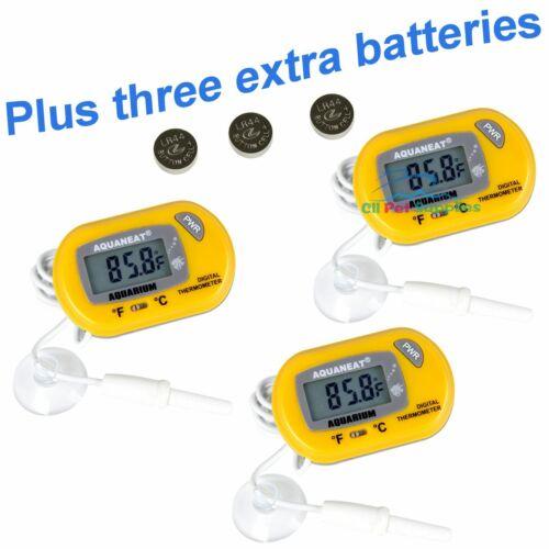 AQUANEAT Aquarium Thermometer Digital Fish Tank Temperature yellow 3PCS