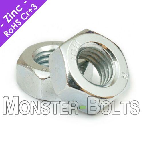 Steel Hex Nuts Zinc Cr+3 Plated, Metric M3 M4 M5 M6 M8 M10 DIN 934 Class 8 & 10