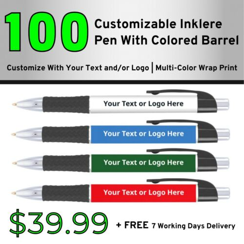 100 Custom Inklere Pen With Color Barrel | Bulk Personalized Pens | Promotional