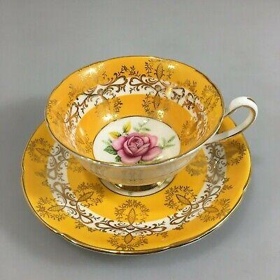 Royal Grafton Yellow Gold Filigree Rose Center Tea Cup Saucer Bone China -
