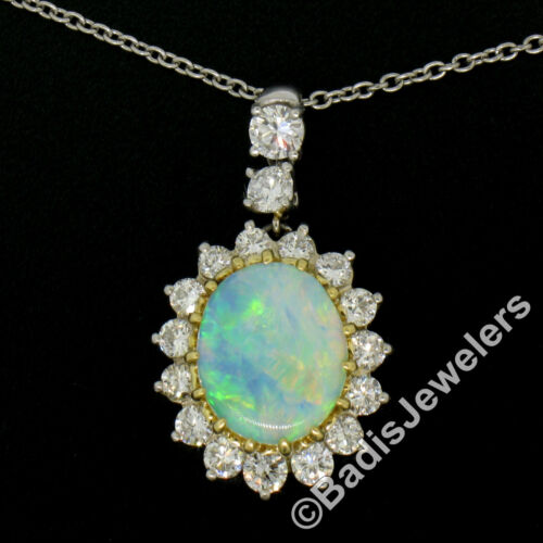 Solid Platinum 18k Yellow Gold 3.69ctw Oval Opal & Diamond Halo Pendant Necklace