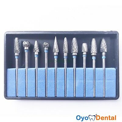 10 Pcs Dental Lab Polishing Bur Drills Tungsten Steel Carbide Burs Burrs 2.35mm