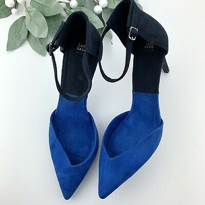 Zara Basic Collection Colorblock Blue Pointy Heel Shoes Sz 41 Women's 9.5-10