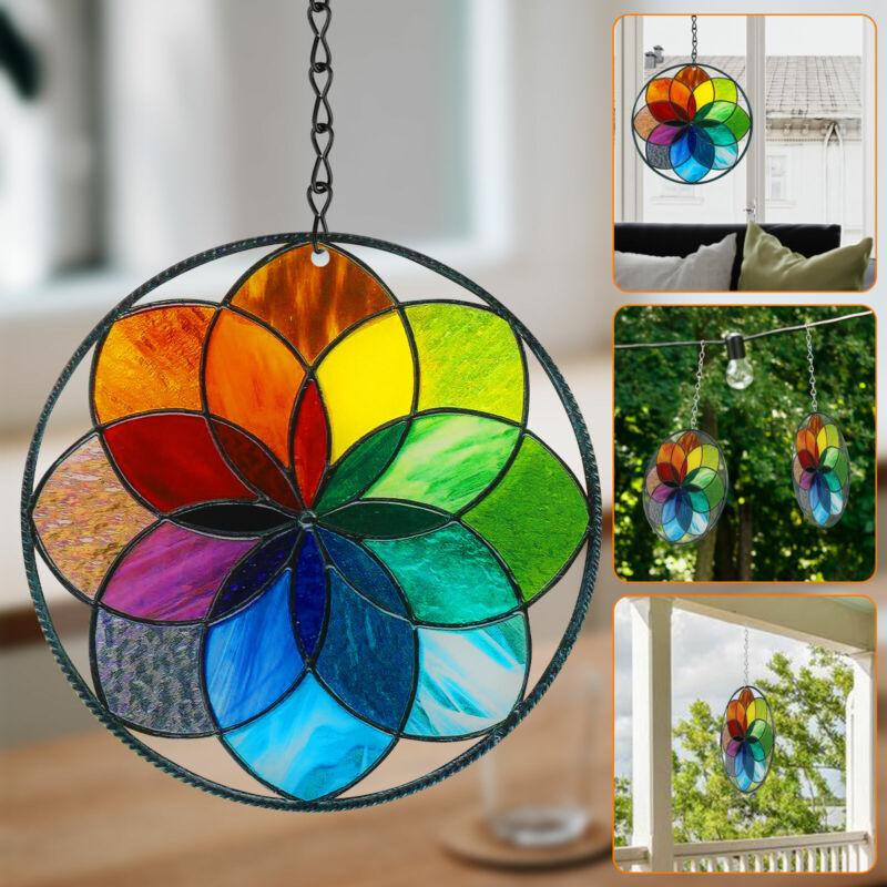 Stained Acrylic Rainbow Window Panel Hanging Suncatcher Wall Pendant Ornament
