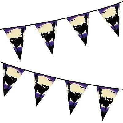 Katze Plastik Banner Party-Dekoration Girlande Halloween (Schwarze Katze Halloween Mond)