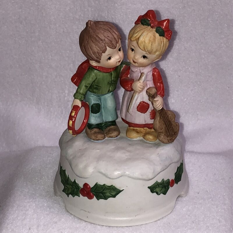 Vintage Lefton Christmas Music Box Boy Playing Tambourine Girl Playing Violin