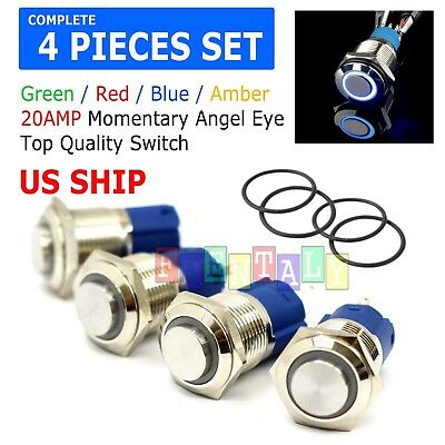 AngelEye Led 16mm 12V Steel Round Momentary Push Button Switch 4Colors 5A