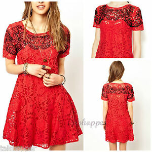 NWT-L-10-12-128-Free-People-Boho-RED-Nude-Lace-Beautiful-Dreamer-Dress-So-HOT